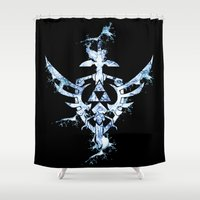 triforce Shower Curtains featuring Water Triforce by bivisual