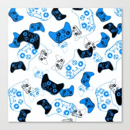 Video Game White and Blue Canvas Print