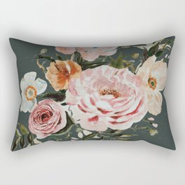 Loose Peonies and Poppies on Vintage Green Rectangular Pillow