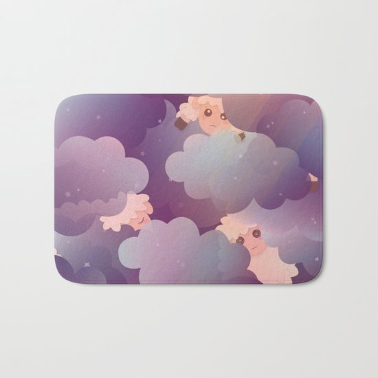 Heavenly Baby Sheep II - Wine Purple / Plum Color, Star Night Sky Background Bath Mat