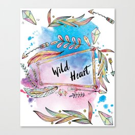 Wild Heart Boho Tribal Frame with Arrows and Crystals Canvas Print