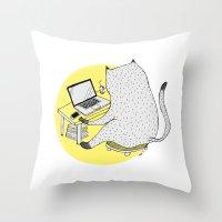 mac Throw Pillows featuring Mac Cat by Diana Hope