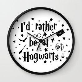 I'd Rather Be At Hogwarts Wall Clock