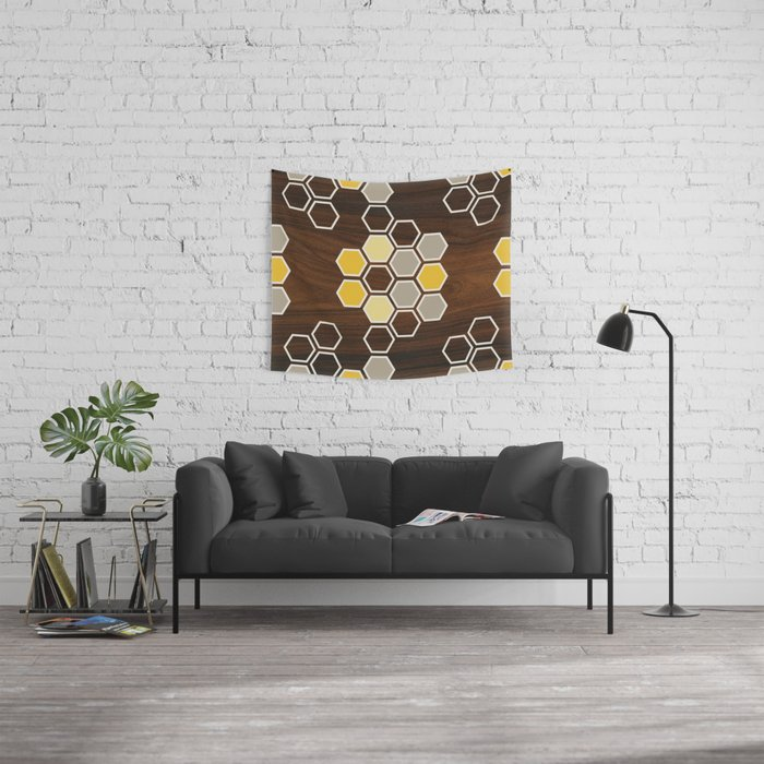 Hex in Yellow Wall Tapestry