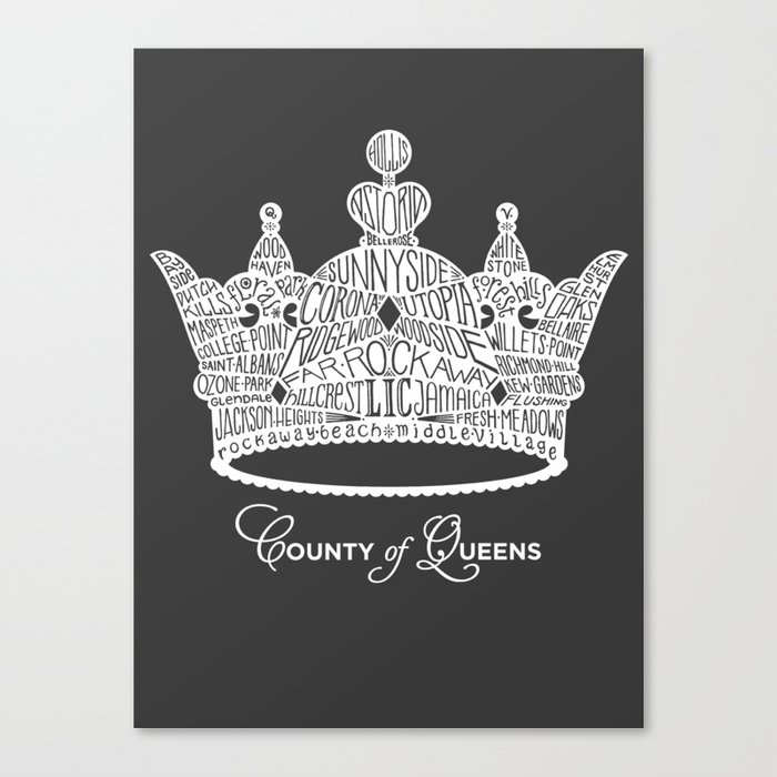 County of Queens   NYC Borough Crown (WHITE) Canvas Print