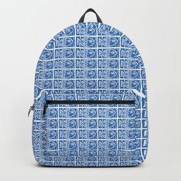 Blue Fish Block Print Backpack