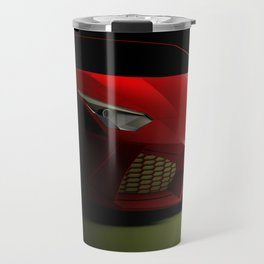 Red sport supercar isolated on black background - 3D rendering illustration Travel Mug