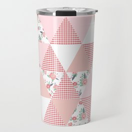 Quilt quilter cheater quilt pattern florals pink and white minimal modern nursery art Travel Mug