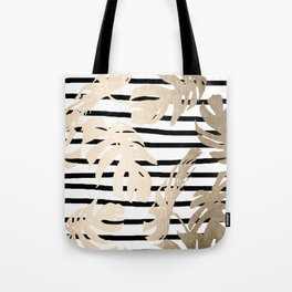 Simply Tropical White Gold Sands Palm Leaves on Stripes Tote Bag