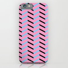 Blue and Black Chevron on Hot Pink iPhone 6s Slim Case
