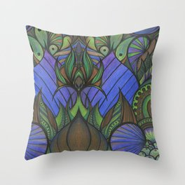 Of Fish and Feathers Throw Pillow