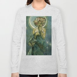 "Alphonse Mucha ""The Moon and the Stars Series: The Moon"" Long Sleeve T-shirt"