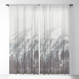 Storm in the Mountain Forest - Nature Photography Sheer Curtain
