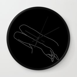 Crossed arms black and white illustration - Amy black Wall Clock