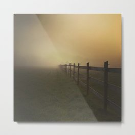 Misty Sunrise on the Farm Metal Print