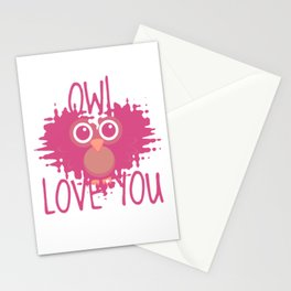 Owl heart Owl Love You Stationery Cards
