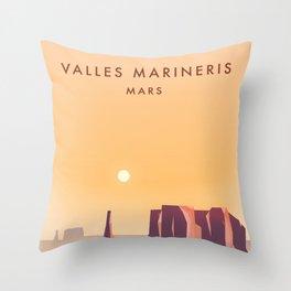 Valles Marineris Mars Sci-fi travel poster. Throw Pillow