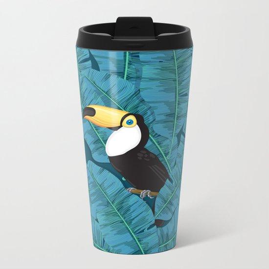 Toucan and banana leaves in blue Metal Travel Mug