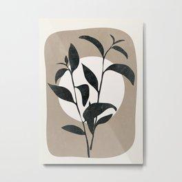 Abstract Minimal Plant Metal Print