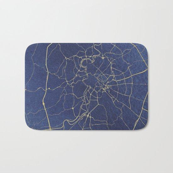 Rome Blue and Gold Street Map Bath Mat