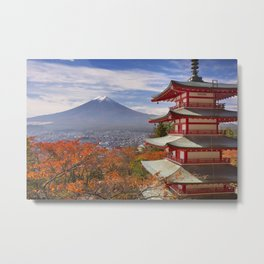 Chureito pagoda and Mount Fuji, Japan in autumn Metal Print