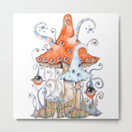 Magical world of mushrooms Metal Print