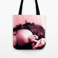 lip Tote Bags featuring Honey lip by NK sharma