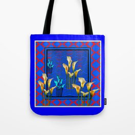 Blue Art White Calla Lilies Red Patterns Tote Bag