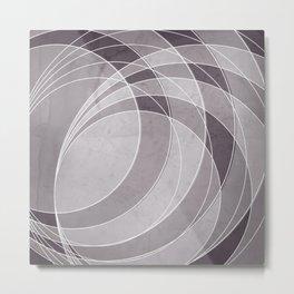 Orbiting Circle Design in Aubergine Metal Print