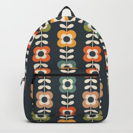 MOD FLOWERS in RETRO COLORS on CHARCOAL Backpack