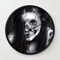 day of the dead Wall Clocks featuring Day Of The Dead by leonmorley