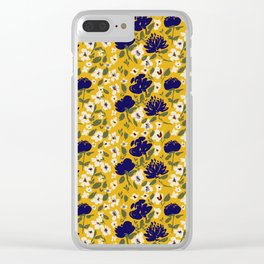 Blue Mustard Ditsy Floral Pattern Clear iPhone Case
