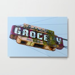 COOL VINTAGE GROCERY SIGN Metal Print