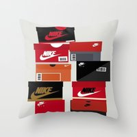 sneaker Throw Pillows featuring SNEAKER HEAD RED by RickART