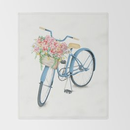 Blue Bicycle with Flowers in Basket Throw Blanket