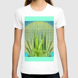 MODERN ALOE VERA SUCCULENT OPTICAL ART T-shirt