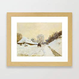 Claude Monet Impressionist Landscape Oil Painting A Cart on the Snowy Road at Honfleur Framed Art Print