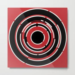 Red Black Circular Abstract Background Metal Print