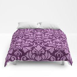 Flourish Damask Big Ptn Pink on Plum Comforters