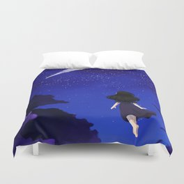 Behold the Galaxy - Anime Girl looking at the Stars Duvet Cover