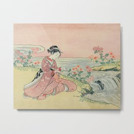 Woman Picking Chrysanthemums by Harunobu Suzuki, 1765 Metal Print