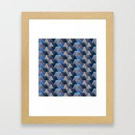 Blue Velvet Triangles Framed Art Print