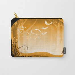 Dark Forest at Dawn in Amber Carry-All Pouch