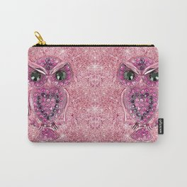 Cute Pink Owl, glitter pink heart diamond photo print Carry-All Pouch