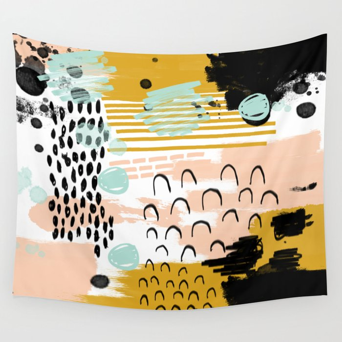 Ames Abstract Painting In Free Style With Modern Colors Navy Gold Blush White Mint Wall Tapestry By Charlottewinter Society6