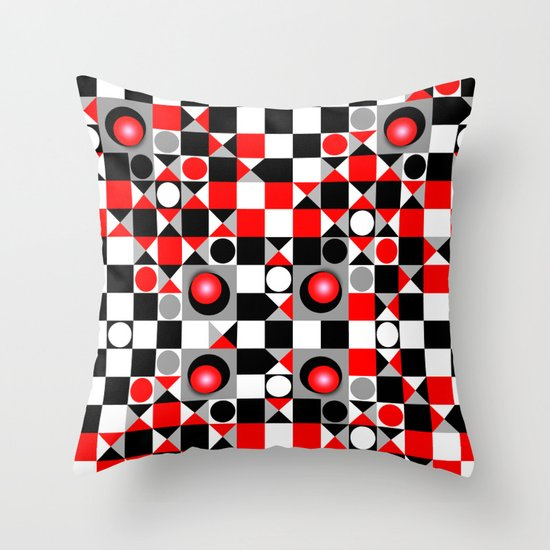 Cute Throw Pillow Society6 : Cute Patterns in red, black and grey Throw Pillow by Thea Walstra Society6