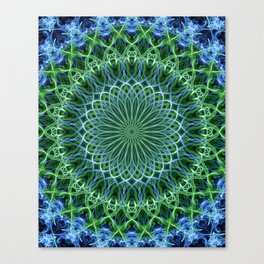 Detailed mandala in light blue and green Canvas Print
