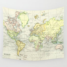 Vintage World Map (1899) Wall Tapestry