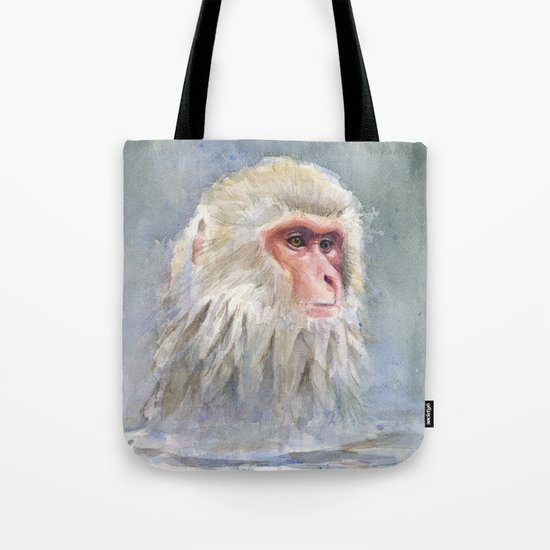 Snow Monkey Watercolor Animal Tote Bag