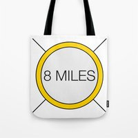 miles davis Tote Bags featuring 8 miles by Thomas Official